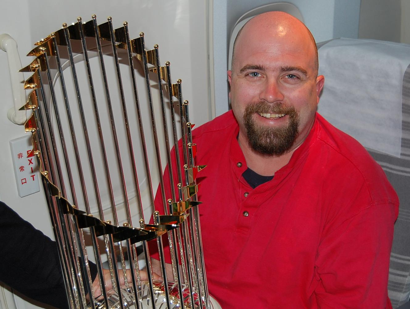 the 2007 World Series Trophy (and me)